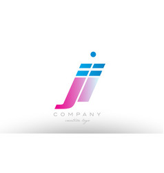 ji j i alphabet letter combination pink blue bold vector image