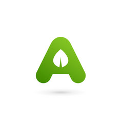 Letter a eco leaves logo icon design template vector