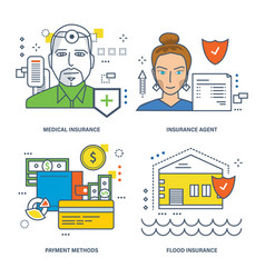 medical insurance agent flood insurance vector image vector image
