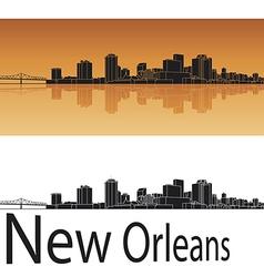 New orleans skyline in orange background vector