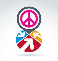 Peace propaganda icon with arrows working and vector image vector image