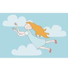 Redhead cartoon girl flying in the sky vector image vector image