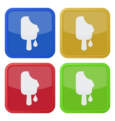 set of four square icons - melting stick ice cream vector image vector image