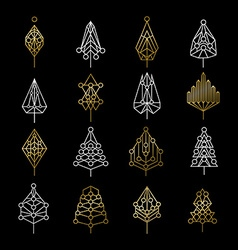 Set of gold christmas tree icons in modern style vector image vector image