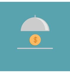 Silver platter cloche and gold dollar coin flat vector