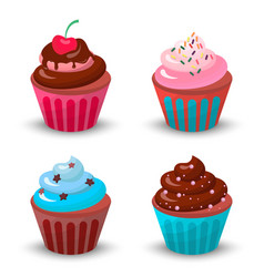 sweet food chocolate creamy cupcake set isolated vector image