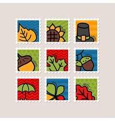Thanksgiving Day stamp set Harvest vector image vector image