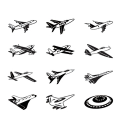 Various airplanes in flight vector image