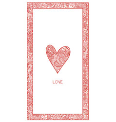 Vertical valentine card with paisley vector