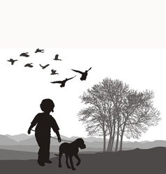 Boy and puppy vector