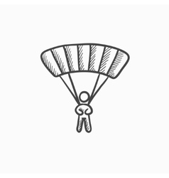 Skydiving sketch icon vector