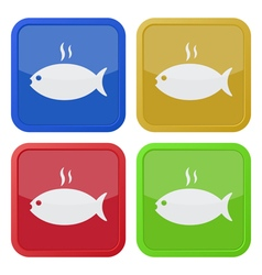 Set of four square icons grilling fish with smoke vector