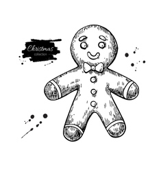 Gingerbread man decorated with icing hand drawn vector