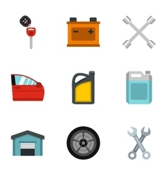 Renovation for machine icons set flat style vector