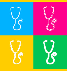 Stethoscope sign four styles of icon vector