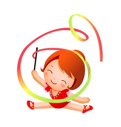 Girl practicing rhythmic gymnast performing with vector