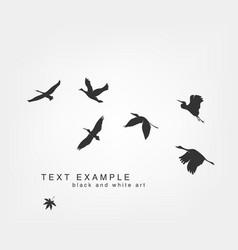 dark figures flying birds on white vector image