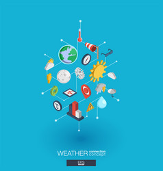 Weather forecast integrated 3d web icons digital vector