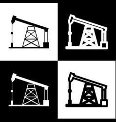 Oil drilling rig sign  black and white vector