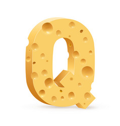 Cheese font q letter on white vector