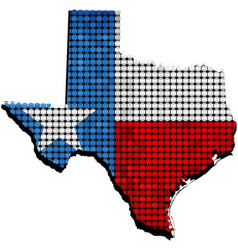 Texas grunge map with flag inside vector