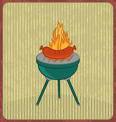 Barbecue card with sausage and flame vector