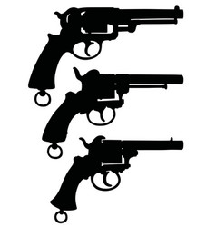 Three silhouettes of retro revolvers vector