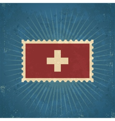 Retro switzerland flag postage stamp vector