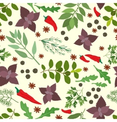 Fresh herbs and spices seamless pattern vector image