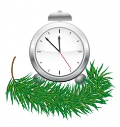 Watches and green fir branches vector