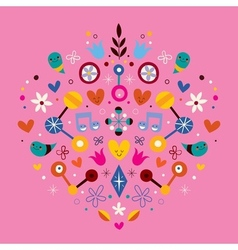 Nature love harmony heart abstract art vector