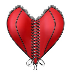 Red corset heart with lacing vector