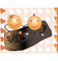 Girl and boy smiles writing on a computer vector