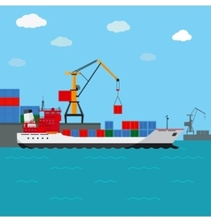 Cargo ship freight shipping by water vector