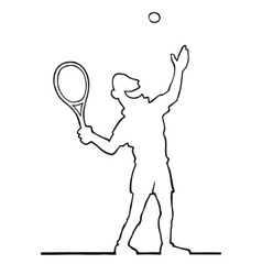 Tennis player serving the ball vector