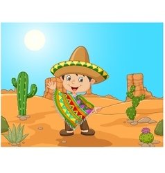 Cartoon a mexican boy waving hand vector