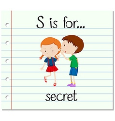 Flashcard letter s is for secret vector