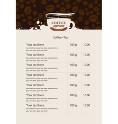 Menu price list for coffee beans vector