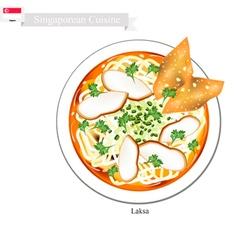 Laksa or singaporean noodle soup with dumpling vector