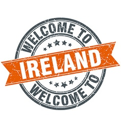 Welcome to ireland orange round ribbon stamp vector