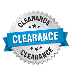 Clearance 3d silver badge with blue ribbon vector