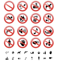 Forbidden signs set vector
