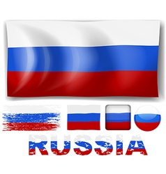 Russia flag in different designs vector