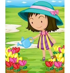 Girl watering plants vector image