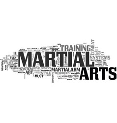 Are the martial arts still under development text vector