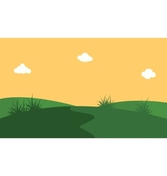 art of hill with orang sky landscape vector image vector image
