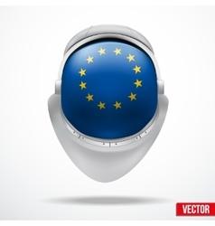 Astronaut helmet with flag europe union vector