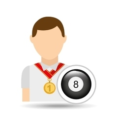 athlete medal pool ball icon graphic vector image