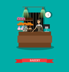 Bakery store concept in flat vector