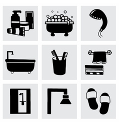 Bathroom icon set vector image